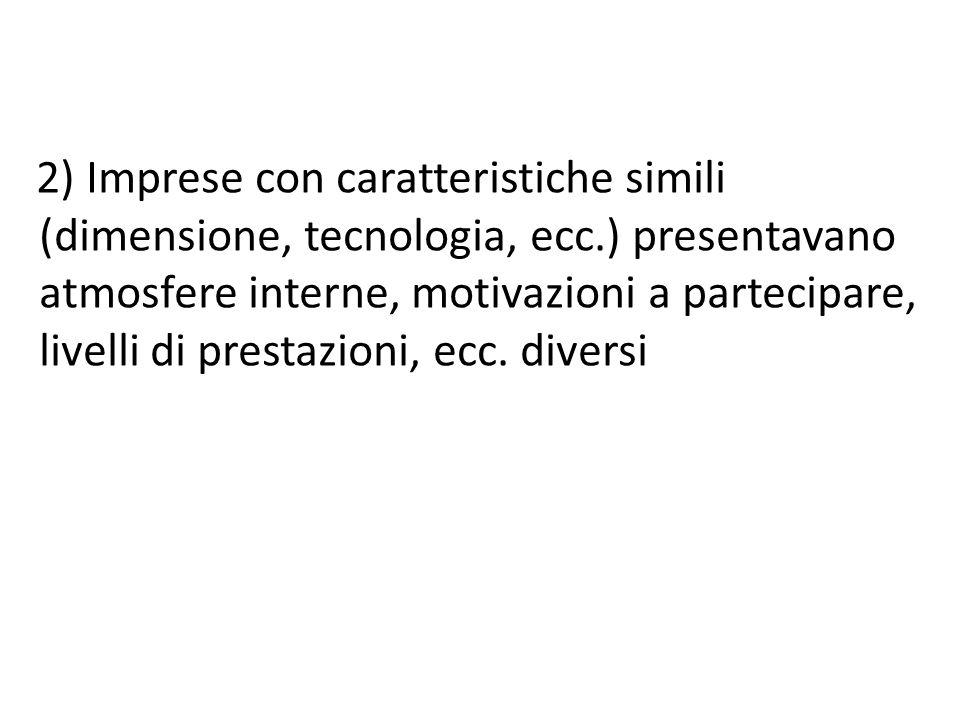 2) Imprese con caratteristiche simili (dimensione, tecnologia, ecc.) presentavano atmosfere interne, motivazioni a partecipare, livelli di prestazioni