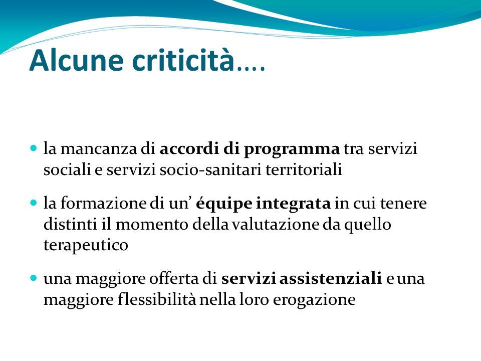 Alcune criticità…. la mancanza di accordi di programma tra servizi sociali e servizi socio-sanitari territoriali la formazione di un' équipe integrata