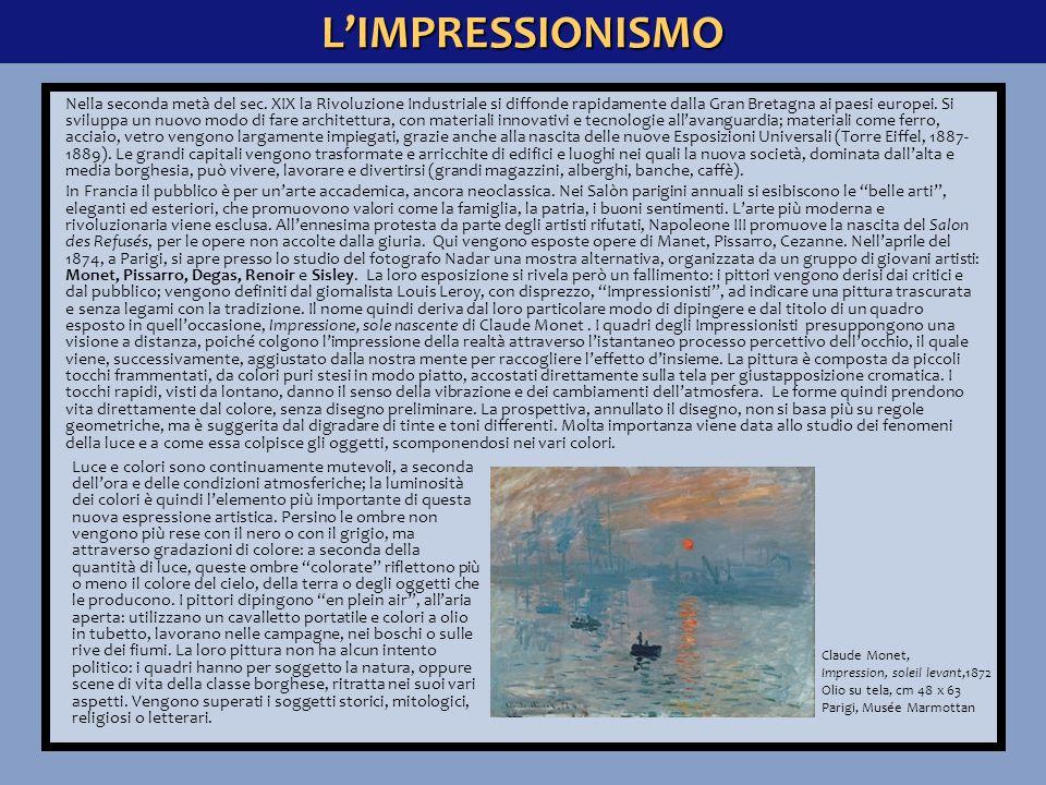 L'IMPRESSIONISMO Edouard Manet, Colazione sull'erba, 1863 Olio su tela, cm 208 x 264 Parigi, Musée d'Orsay Il pittore Edouard Manet, a partire dal 1863, frequenta i pittori impressionisti, senza però entrare a far parte del loro gruppo.