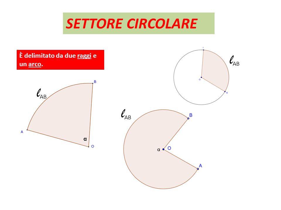 SETTORE CIRCOLARE l AB È delimitato da due raggi e un arco. l AB