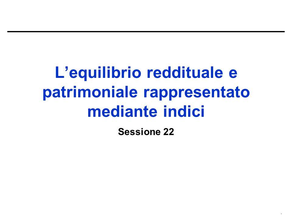 . L'equilibrio reddituale e patrimoniale rappresentato mediante indici Sessione 22