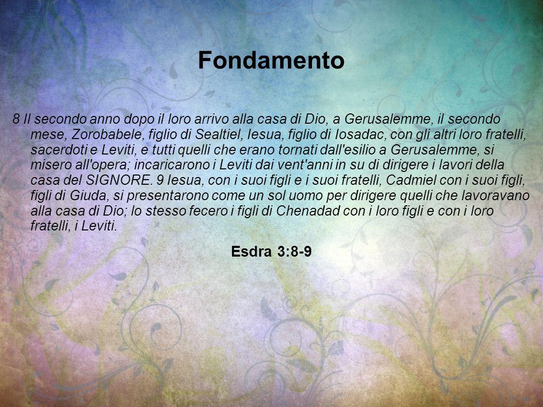 Fondamento 8 Il secondo anno dopo il loro arrivo alla casa di Dio, a Gerusalemme, il secondo mese, Zorobabele, figlio di Sealtiel, Iesua, figlio di Io