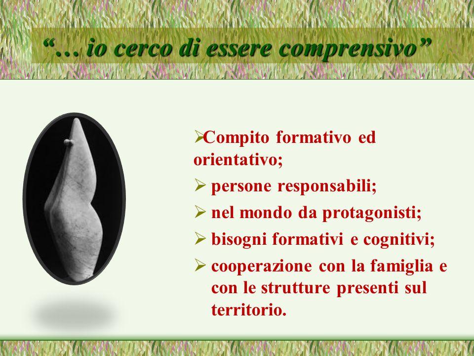… io cerco di essere comprensivo  Compito formativo ed orientativo;  persone responsabili;  nel mondo da protagonisti;  bisogni formativi e cognitivi;  cooperazione con la famiglia e con le strutture presenti sul territorio.