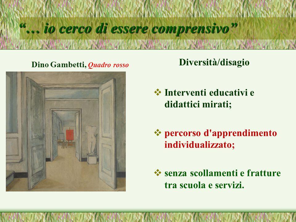 … io cerco di essere comprensivo Dino Gambetti, Quadro rosso Diversità/disagio  Interventi educativi e didattici mirati;  percorso d apprendimento individualizzato;  senza scollamenti e fratture tra scuola e servizi.