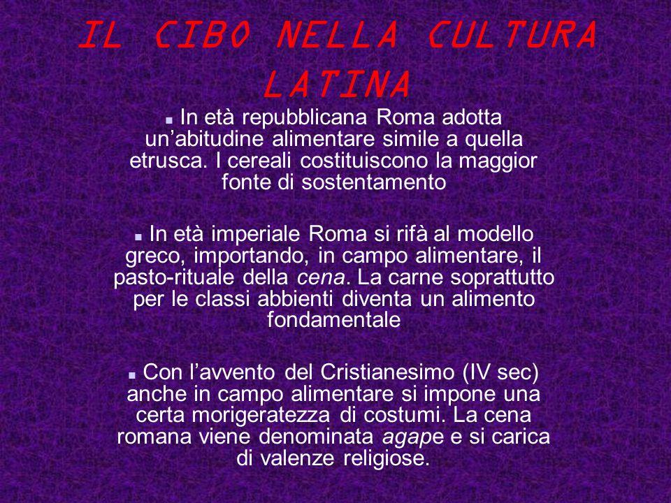 IL CIBO NELLA CULTURA LATINA In età repubblicana Roma adotta un'abitudine alimentare simile a quella etrusca.