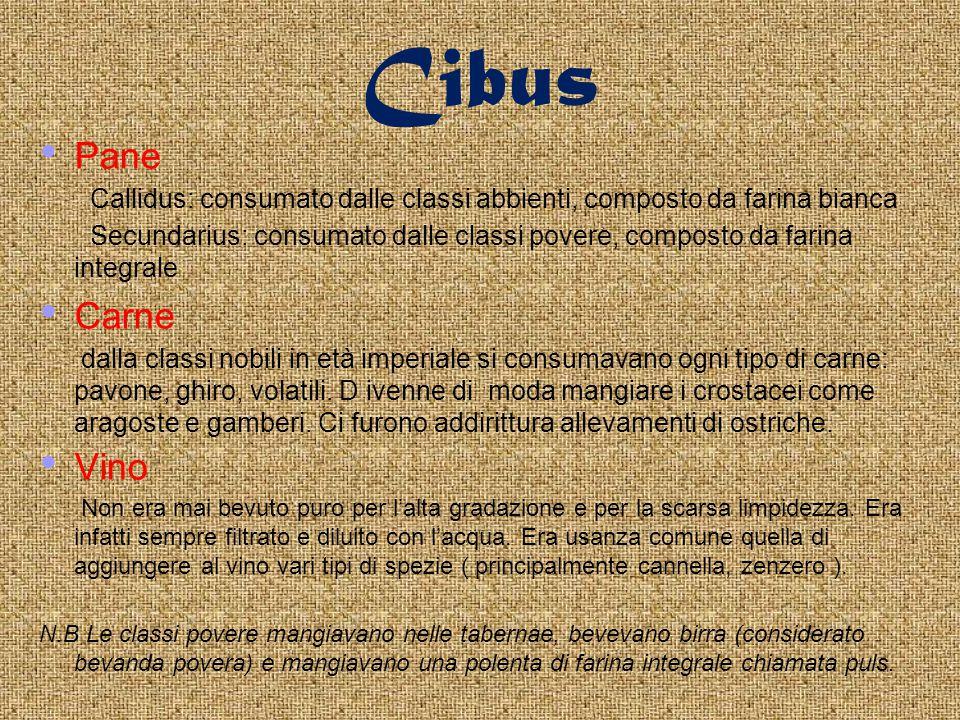 Cibus Pane Callidus: consumato dalle classi abbienti, composto da farina bianca Secundarius: consumato dalle classi povere, composto da farina integrale Carne dalla classi nobili in età imperiale si consumavano ogni tipo di carne: pavone, ghiro, volatili.