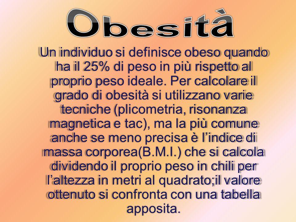 Un individuo si definisce obeso quando ha il 25% di peso in più rispetto al proprio peso ideale.