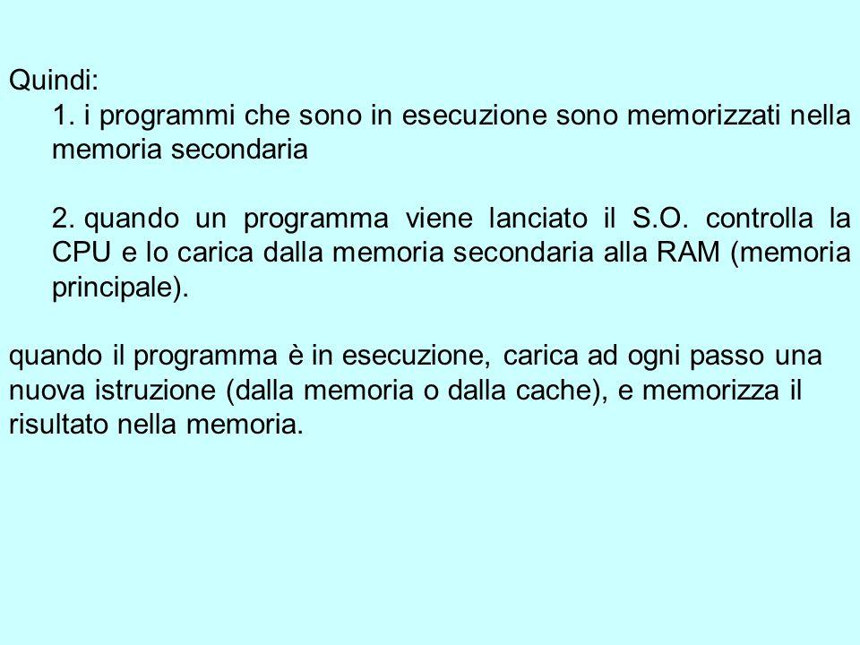 Quindi: 1. i programmi che sono in esecuzione sono memorizzati nella memoria secondaria 2.