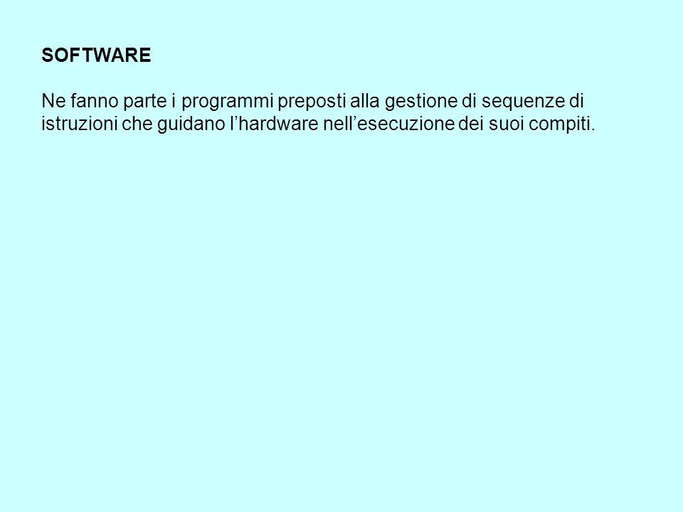 SOFTWARE Ne fanno parte i programmi preposti alla gestione di sequenze di istruzioni che guidano l'hardware nell'esecuzione dei suoi compiti.