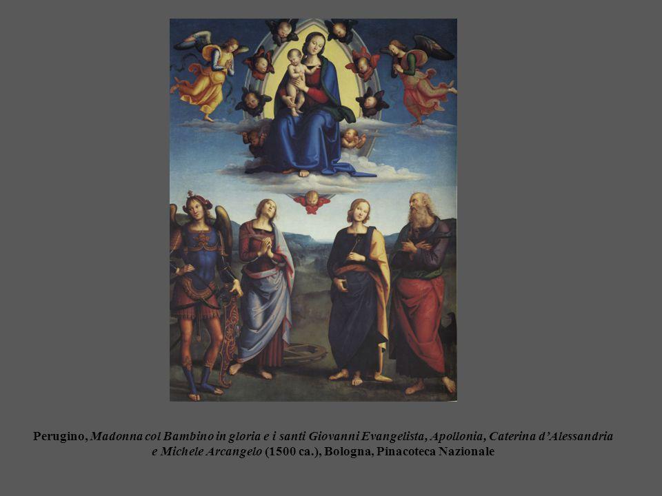 Perugino, Madonna col Bambino in gloria e i santi Giovanni Evangelista, Apollonia, Caterina d'Alessandria e Michele Arcangelo (1500 ca.), Bologna, Pin