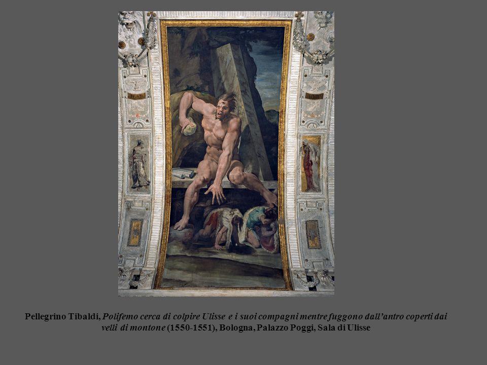 Pellegrino Tibaldi, Polifemo cerca di colpire Ulisse e i suoi compagni mentre fuggono dall'antro coperti dai velli di montone (1550-1551), Bologna, Pa