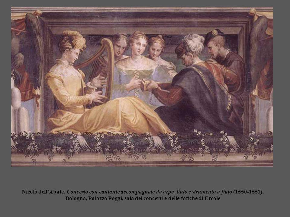 Nicolò dell'Abate, Concerto con cantante accompagnata da arpa, liuto e strumento a fiato (1550-1551), Bologna, Palazzo Poggi, sala dei concerti e dell
