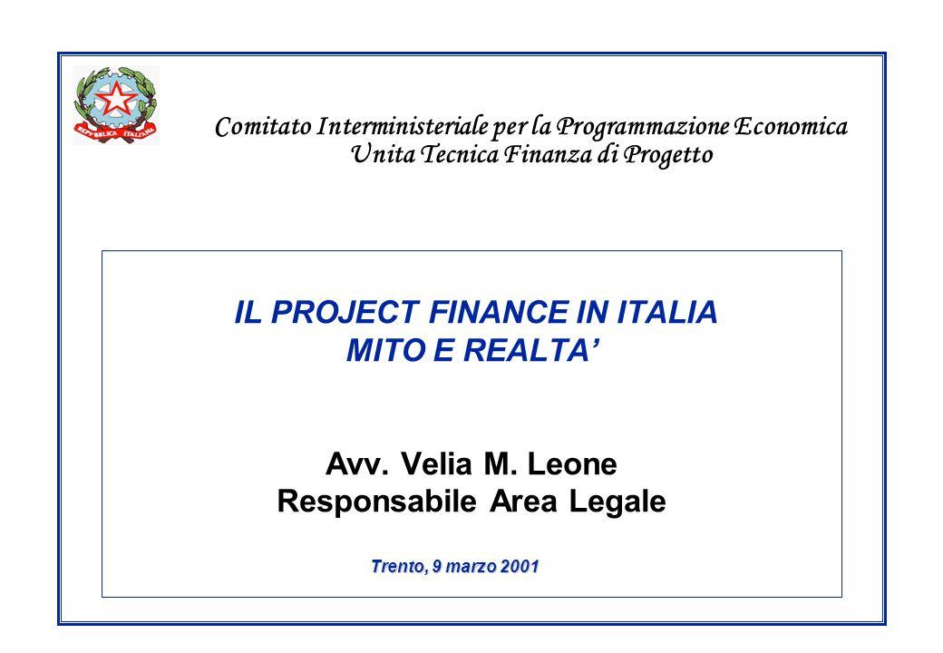 IL PROJECT FINANCE IN ITALIA MITO E REALTA' Avv. Velia M.
