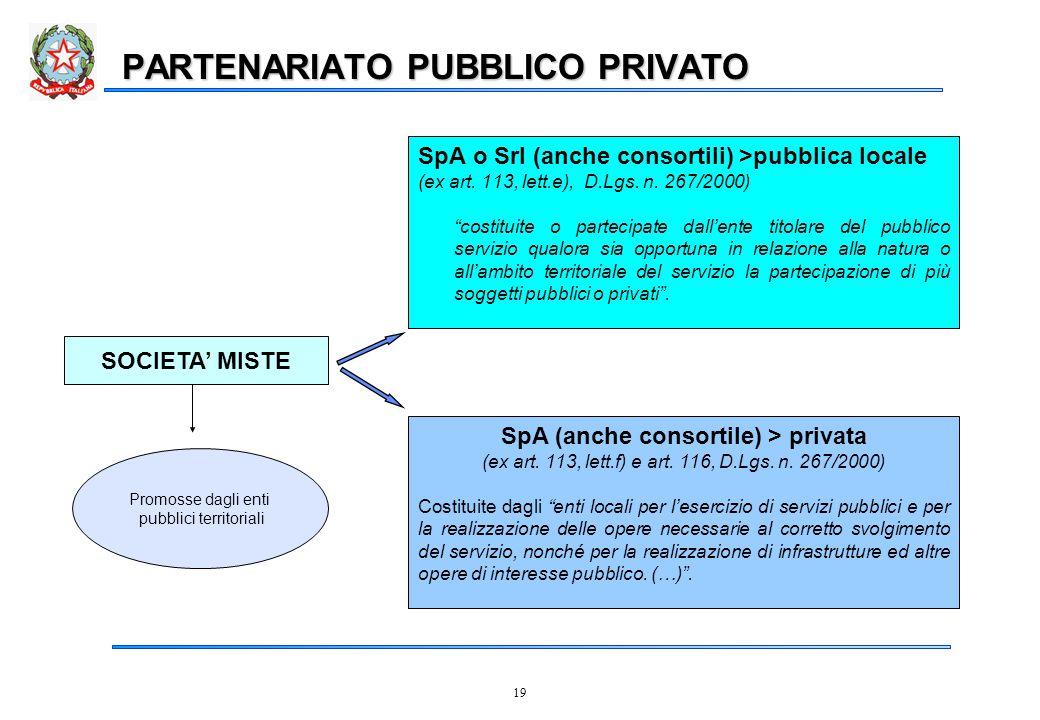 19 PARTENARIATO PUBBLICO PRIVATO SOCIETA' MISTE SpA o Srl (anche consortili) >pubblica locale (ex art.