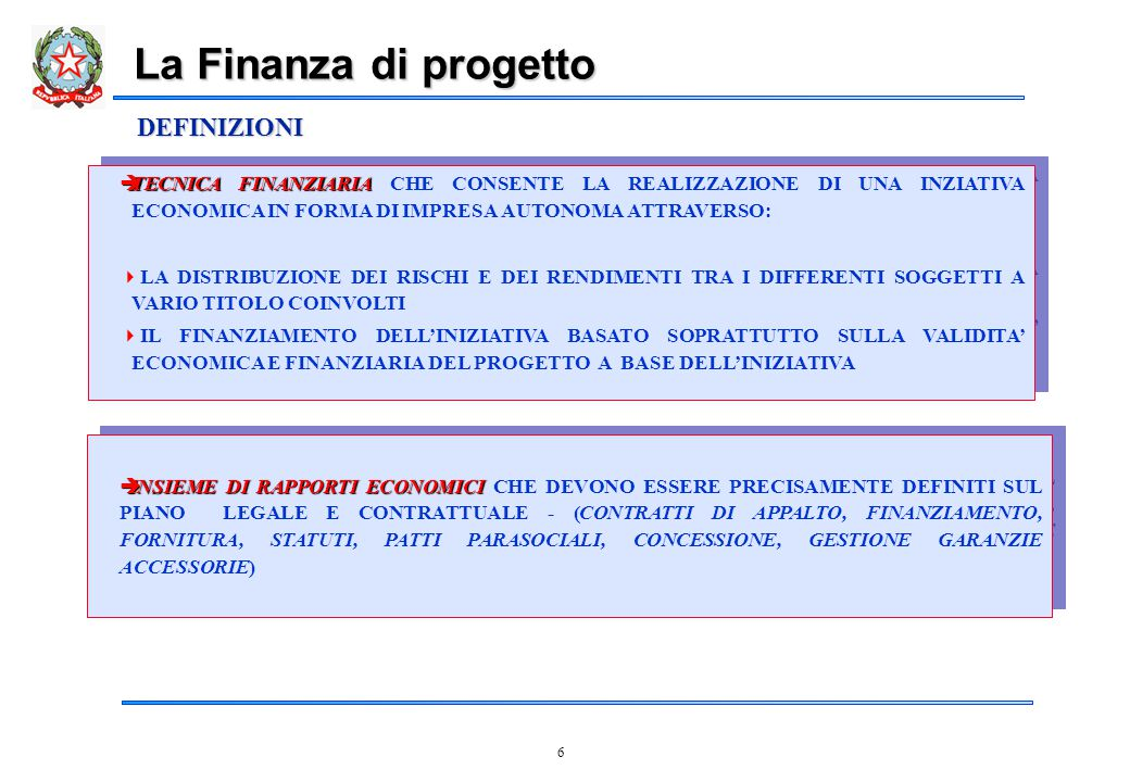 7 CARATTERISTICHE DISTINTIVE SEPARAZIONE DEL FABBISOGNO FINANZIARIO DEL PROGETTO DAL BILANCIO DEI PROMOTORI  L'OBIETTIVO È LA SEPARAZIONE DEL FABBISOGNO FINANZIARIO DEL PROGETTO DAL BILANCIO DEI PROMOTORI OBIETTIVO, NON REQUISITO DEL PROJECT FINANCING: PUÒ ESSERE PRESENTE ANCHE SOLO IN FORMA PARZIALE FLUSSI DI CASSA  IL PROGETTO È POTENZIALMENTE IN GRADO DI GENERARE FLUSSI DI CASSA SUFFICIENTI A RIPAGARE I PRESTITI OTTENUTI PER IL FINANZIAMENTO DEL PROGETTO STESSO ED A GARANTIRE UNA ADEGUATA REMUNERAZIONE DEL CAPITALE IN ESSO INVESTITO UN'UNITÀ ECONOMICA AD-HOC,  COSTITUZIONE DI UN'UNITÀ ECONOMICA AD-HOC, QUASI SEMPRE SOTTO FORMA DI UNA SOCIETÀ AVENTE PERSONALITÀ GIURIDICA AUTONOMA, ALLA QUALE VENGONO DESTINATI I FINANZIAMENTI OTTENUTI (COSIDDETTI PRESTITI PER SCOPO ) UN'ALLOCAZIONE DEI RISCHI  LA PARTECIPAZIONE DI PIÙ SOGGETTI GARANTISCE UN'ALLOCAZIONE DEI RISCHI DEL PROGETTO ATTUATA ATTRAVERSO UNA COMPLESSA PROCEDURA DI CONTRATTUALIZZAZIONE DEGLI IMPEGNI, DELLE RESPONSABILITÀ, DELLE GARANZIE La Finanza di Progetto