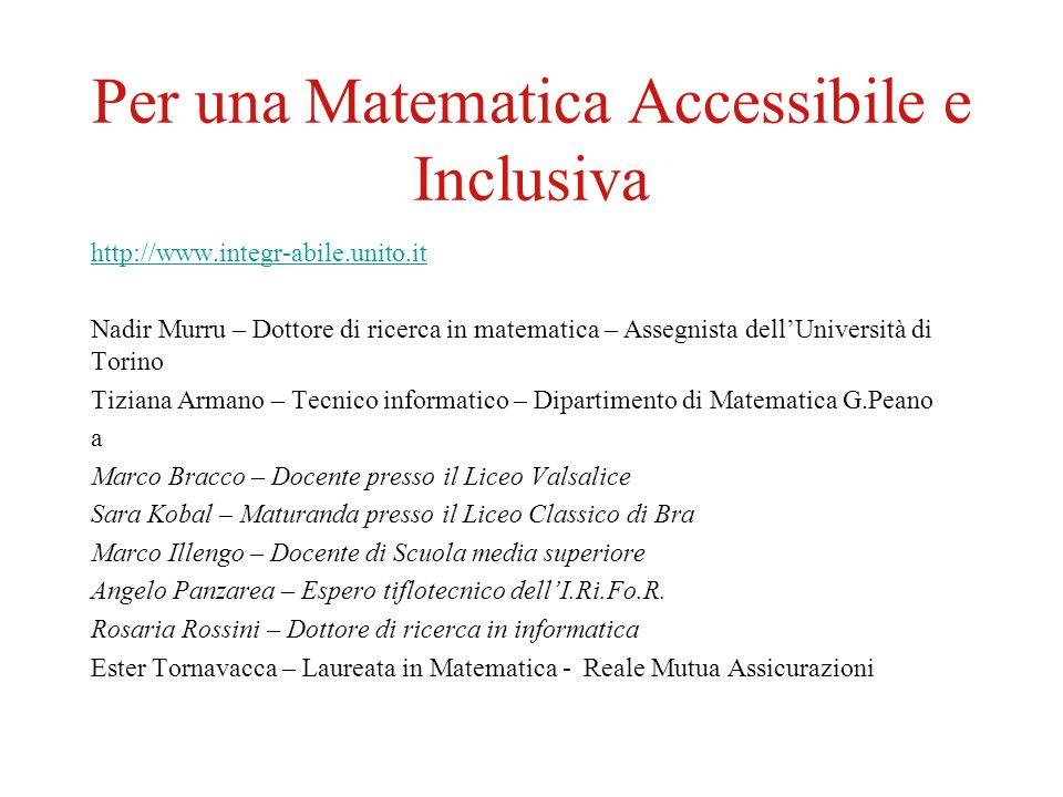 Per una Matematica Accessibile e Inclusiva http://www.integr-abile.unito.it Nadir Murru – Dottore di ricerca in matematica – Assegnista dell'Universit