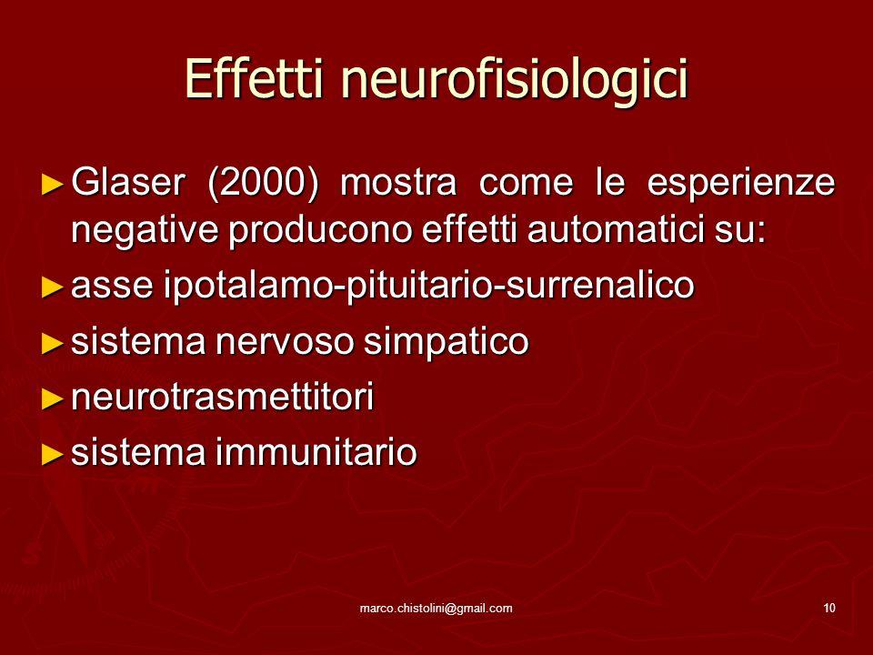 Effetti neurofisiologici ► Glaser (2000) mostra come le esperienze negative producono effetti automatici su: ► asse ipotalamo-pituitario-surrenalico ►