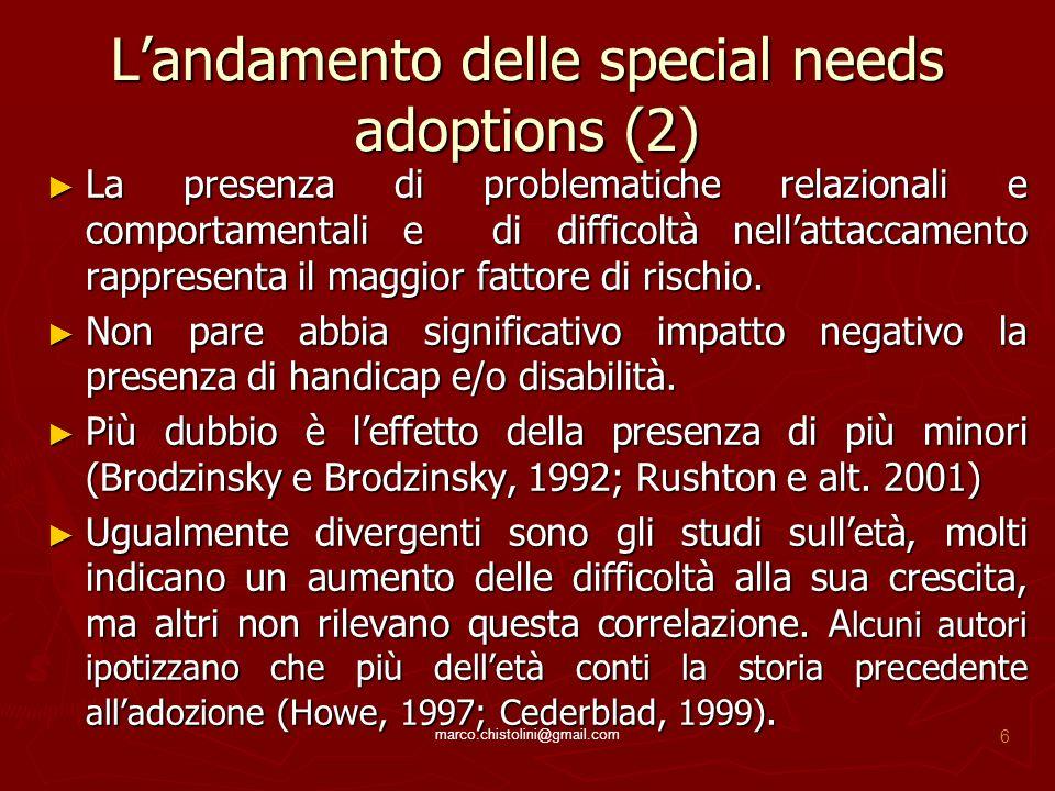 L'andamento delle special needs adoptions (2) ► La presenza di problematiche relazionali e comportamentali e di difficoltà nell'attaccamento rappresen