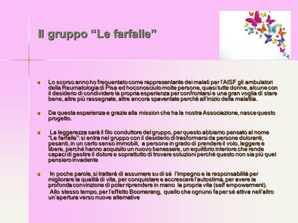 """Il gruppo """"Le farfalle"""" Lo scorso anno ho frequentato come rappresentante dei malati per l'AISF gli ambulatori della Reumatologia di Pisa ed hoconosci"""