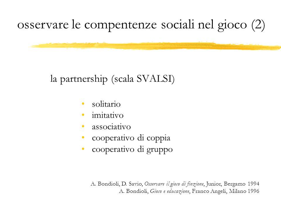 la partnership (scala SVALSI) solitario imitativo associativo cooperativo di coppia cooperativo di gruppo A. Bondioli, D. Savio, Osservare il gioco di