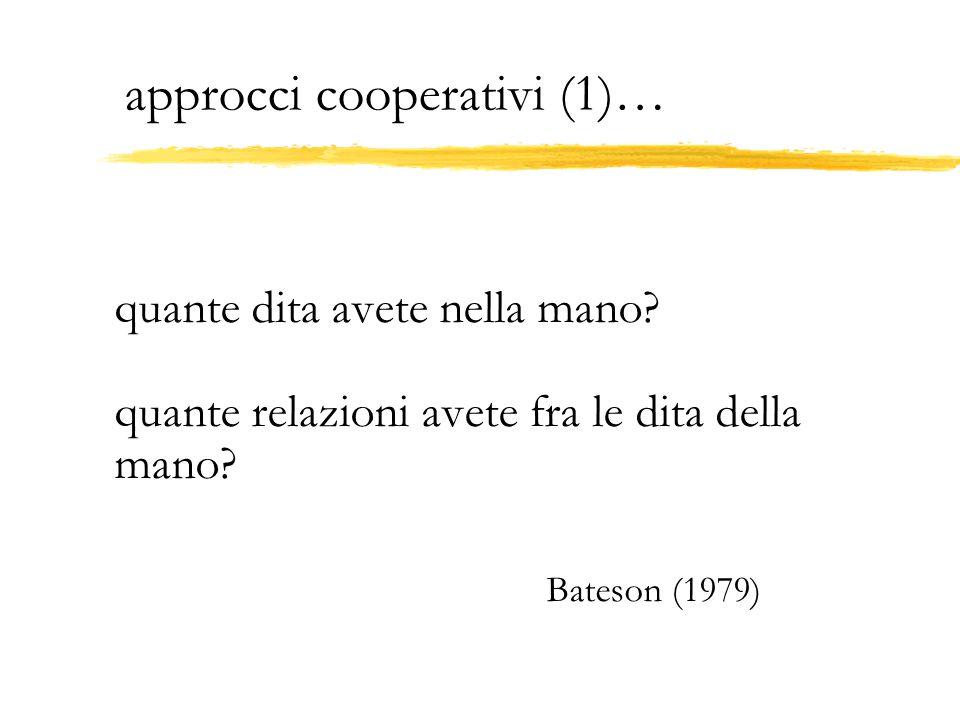 approcci cooperativi (1)… quante dita avete nella mano? quante relazioni avete fra le dita della mano? Bateson (1979)