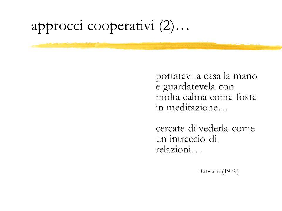 approcci cooperativi (2)… portatevi a casa la mano e guardatevela con molta calma come foste in meditazione… cercate di vederla come un intreccio di r