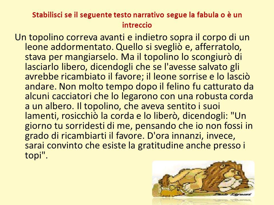 Stabilisci se il seguente testo narrativo segue la fabula o è un intreccio Un topolino correva avanti e indietro sopra il corpo di un leone addormenta