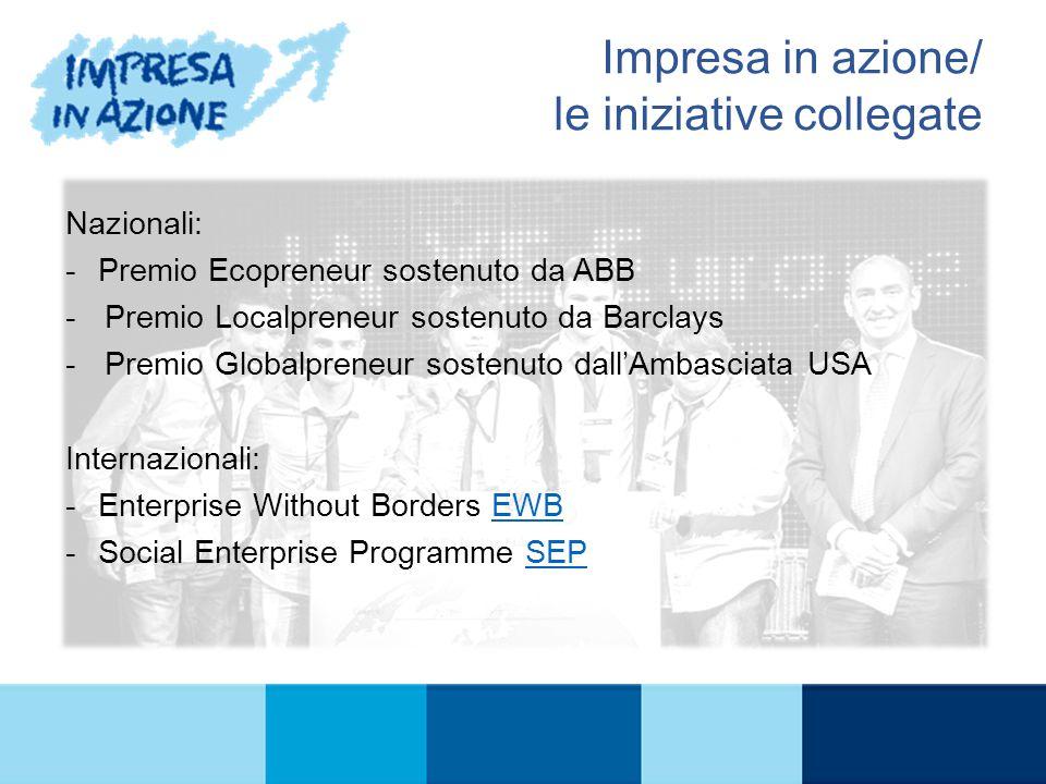 Nazionali: -Premio Ecopreneur sostenuto da ABB -Premio Localpreneur sostenuto da Barclays -Premio Globalpreneur sostenuto dall'Ambasciata USA Internazionali: -Enterprise Without Borders EWBEWB -Social Enterprise Programme SEPSEP IL PROGRAMMA Impresa in azione/ le iniziative collegate
