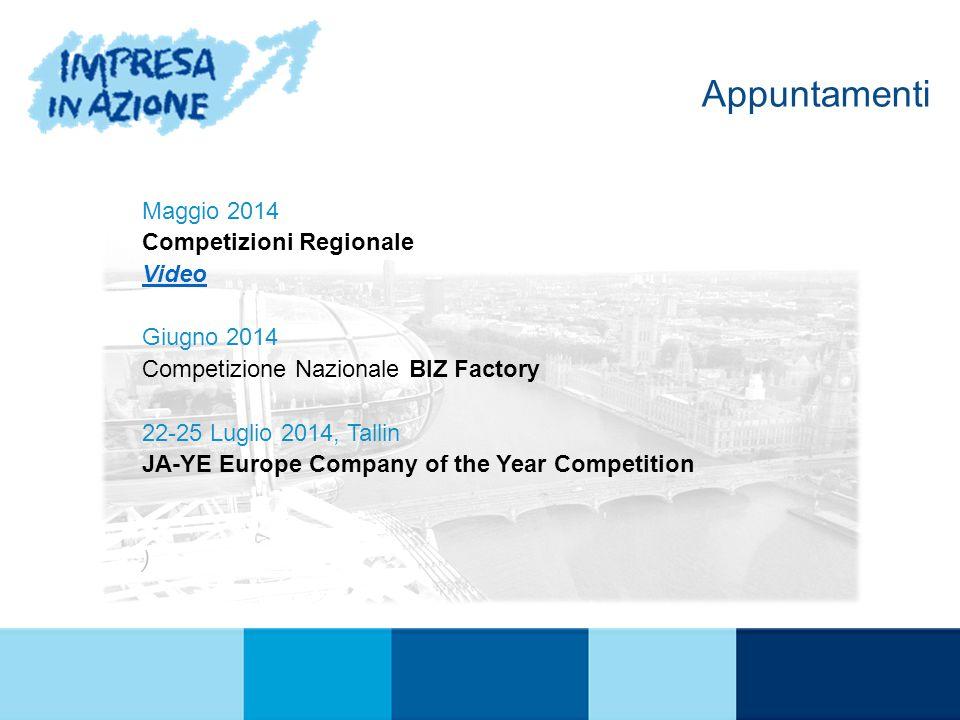 Appuntamenti Maggio 2014 Competizioni Regionale Video Giugno 2014 Competizione Nazionale BIZ Factory 22-25 Luglio 2014, Tallin JA-YE Europe Company of