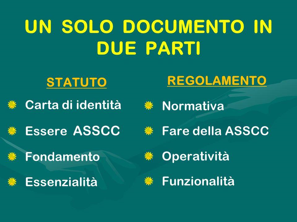 UN SOLO DOCUMENTO IN DUE PARTI STATUTO Carta di identità Essere ASSCC Fondamento Essenzialità REGOLAMENTO Normativa Fare della ASSCC Operatività Funzionalità
