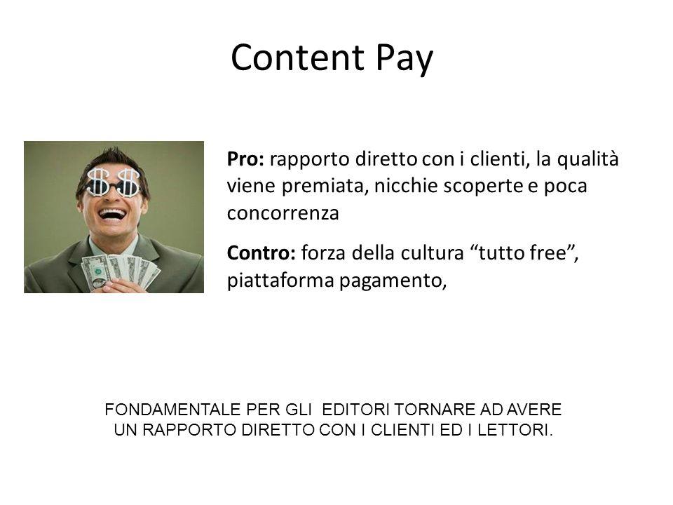 """Content Pay Pro: rapporto diretto con i clienti, la qualità viene premiata, nicchie scoperte e poca concorrenza Contro: forza della cultura """"tutto fre"""
