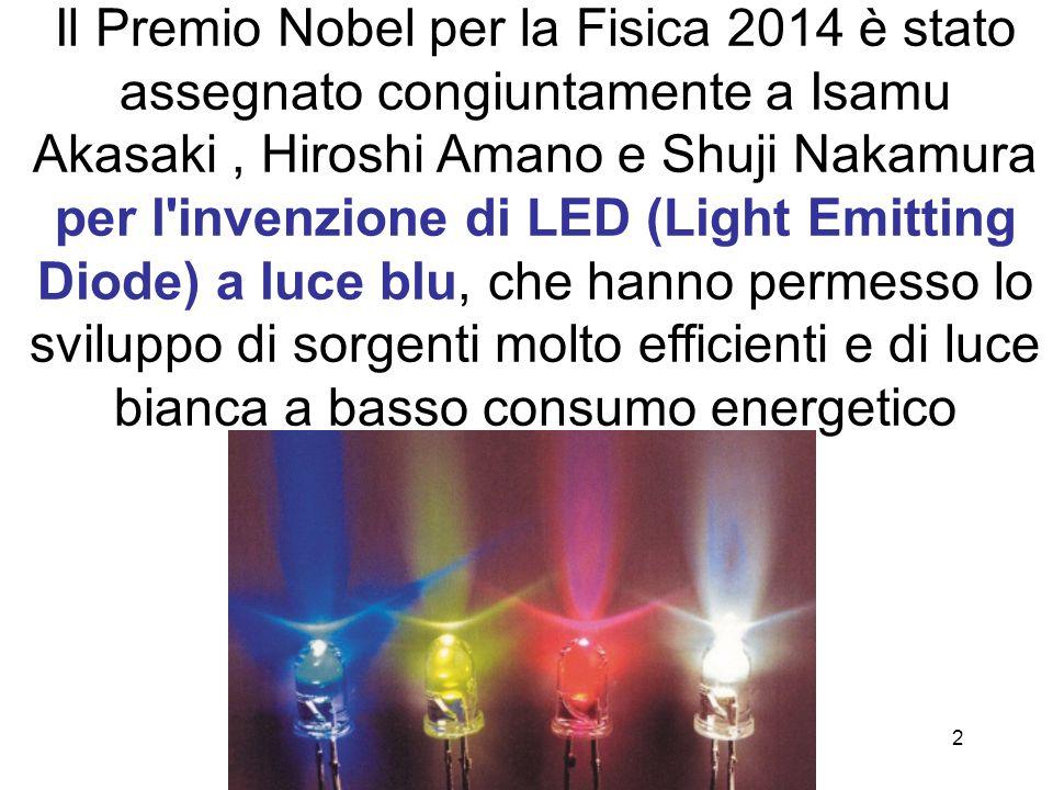 2 Il Premio Nobel per la Fisica 2014 è stato assegnato congiuntamente a Isamu Akasaki, Hiroshi Amano e Shuji Nakamura per l'invenzione di LED (Light E