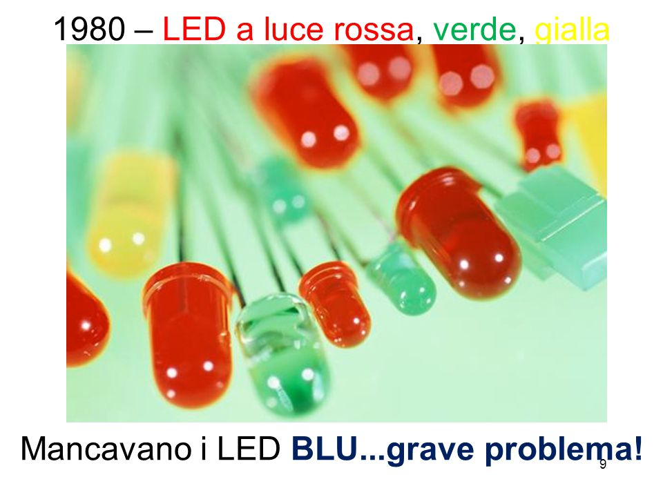 9 1980 – LED a luce rossa, verde, gialla Mancavano i LED BLU...grave problema!