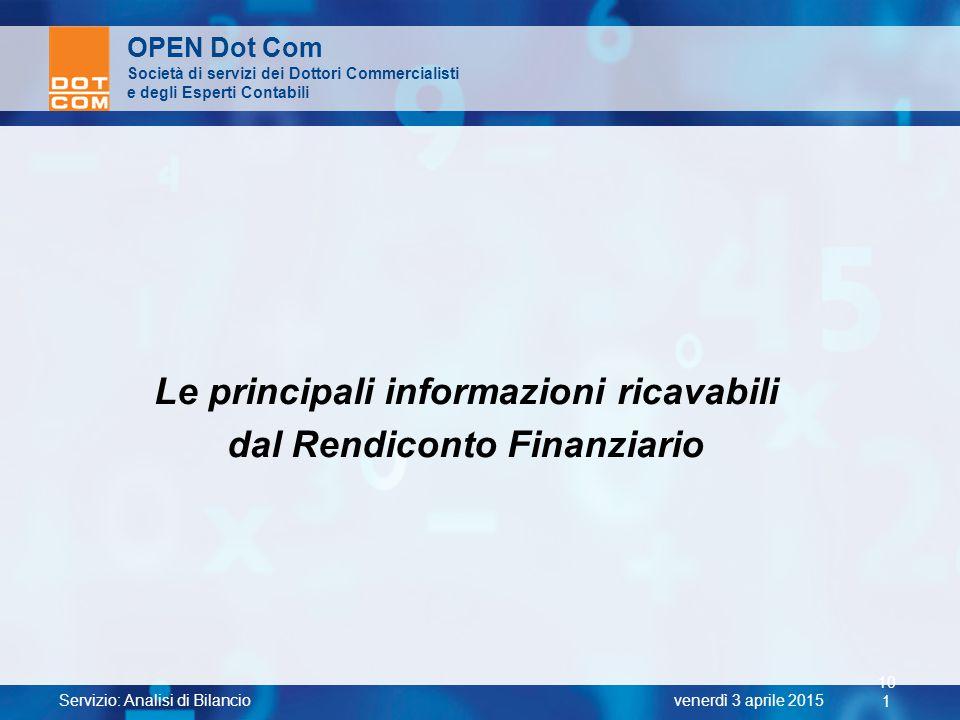 Servizio: Analisi di Bilancio 10 1 venerdì 3 aprile 2015 OPEN Dot Com Società di servizi dei Dottori Commercialisti e degli Esperti Contabili Le princ