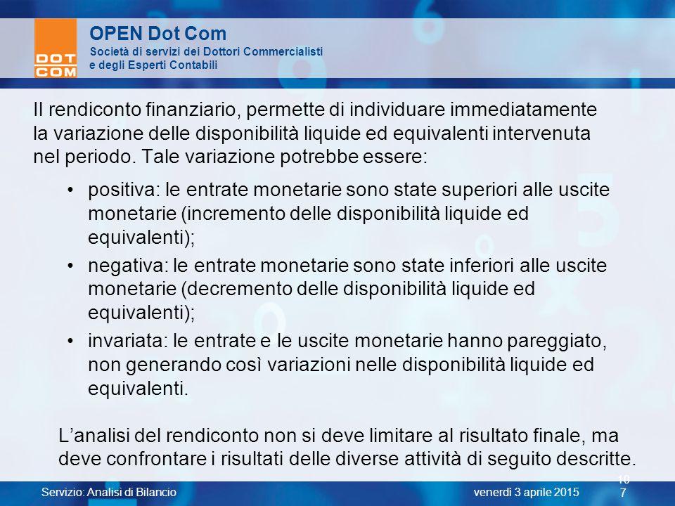 Servizio: Analisi di Bilancio 10 7 venerdì 3 aprile 2015 OPEN Dot Com Società di servizi dei Dottori Commercialisti e degli Esperti Contabili Il rendi