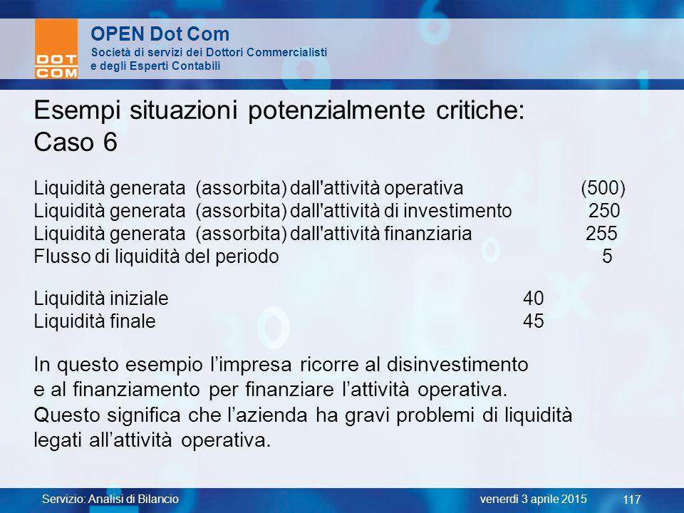 Servizio: Analisi di Bilancio 117 venerdì 3 aprile 2015 OPEN Dot Com Società di servizi dei Dottori Commercialisti e degli Esperti Contabili Esempi si