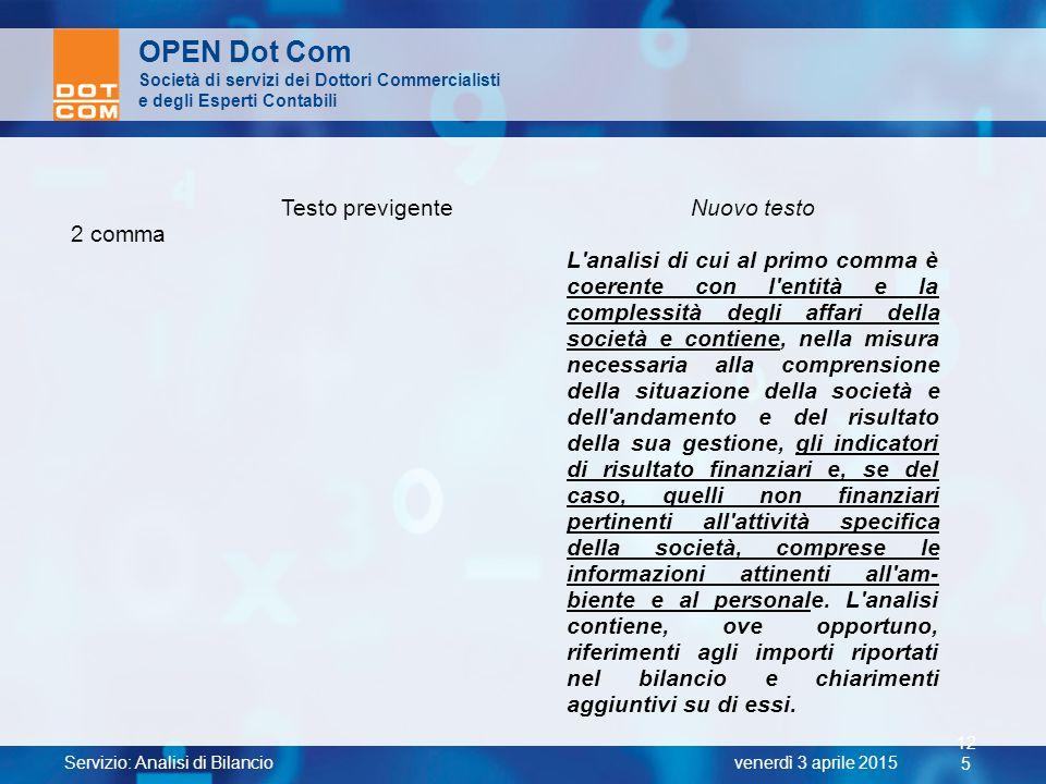 Servizio: Analisi di Bilancio 12 5 venerdì 3 aprile 2015 OPEN Dot Com Società di servizi dei Dottori Commercialisti e degli Esperti Contabili Testo pr