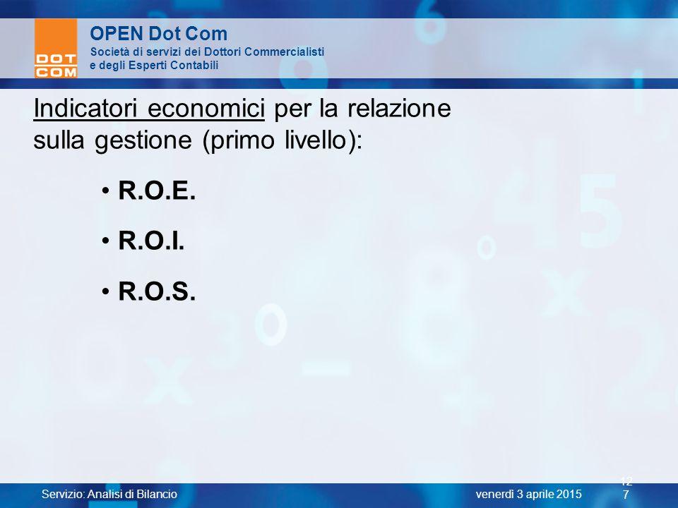 Servizio: Analisi di Bilancio 12 7 venerdì 3 aprile 2015 OPEN Dot Com Società di servizi dei Dottori Commercialisti e degli Esperti Contabili Indicato
