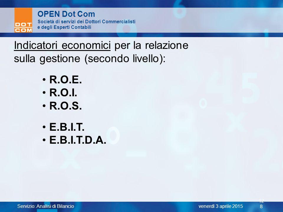 Servizio: Analisi di Bilancio 12 8 venerdì 3 aprile 2015 OPEN Dot Com Società di servizi dei Dottori Commercialisti e degli Esperti Contabili Indicato