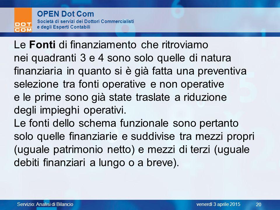 Servizio: Analisi di Bilancio 20 venerdì 3 aprile 2015 OPEN Dot Com Società di servizi dei Dottori Commercialisti e degli Esperti Contabili Le Fonti d