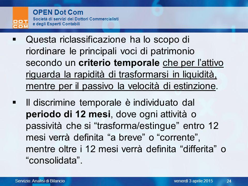 Servizio: Analisi di Bilancio 24 venerdì 3 aprile 2015 OPEN Dot Com Società di servizi dei Dottori Commercialisti e degli Esperti Contabili  Questa r