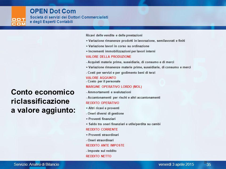 Servizio: Analisi di Bilancio 35 venerdì 3 aprile 2015 OPEN Dot Com Società di servizi dei Dottori Commercialisti e degli Esperti Contabili 35 Conto e