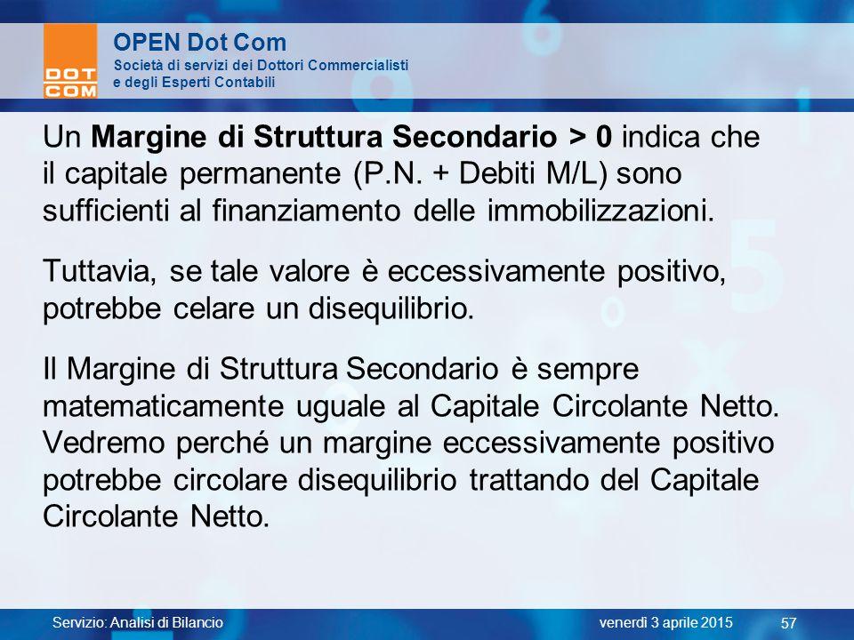 Servizio: Analisi di Bilancio 57 venerdì 3 aprile 2015 OPEN Dot Com Società di servizi dei Dottori Commercialisti e degli Esperti Contabili Un Margine