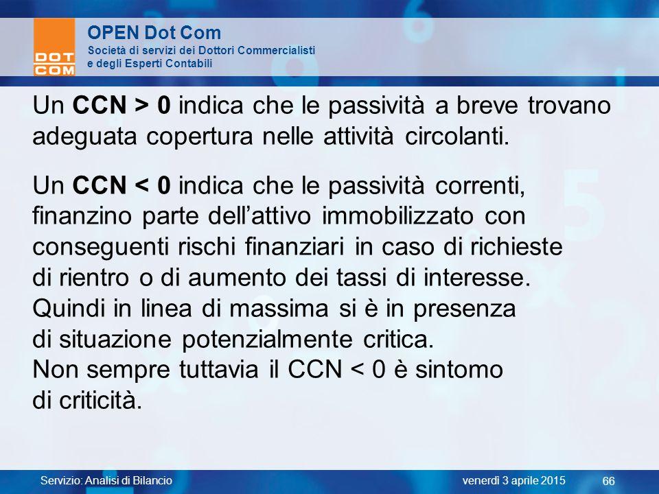 Servizio: Analisi di Bilancio 66 venerdì 3 aprile 2015 OPEN Dot Com Società di servizi dei Dottori Commercialisti e degli Esperti Contabili Un CCN > 0