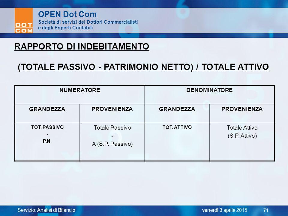 Servizio: Analisi di Bilancio 71 venerdì 3 aprile 2015 OPEN Dot Com Società di servizi dei Dottori Commercialisti e degli Esperti Contabili RAPPORTO D