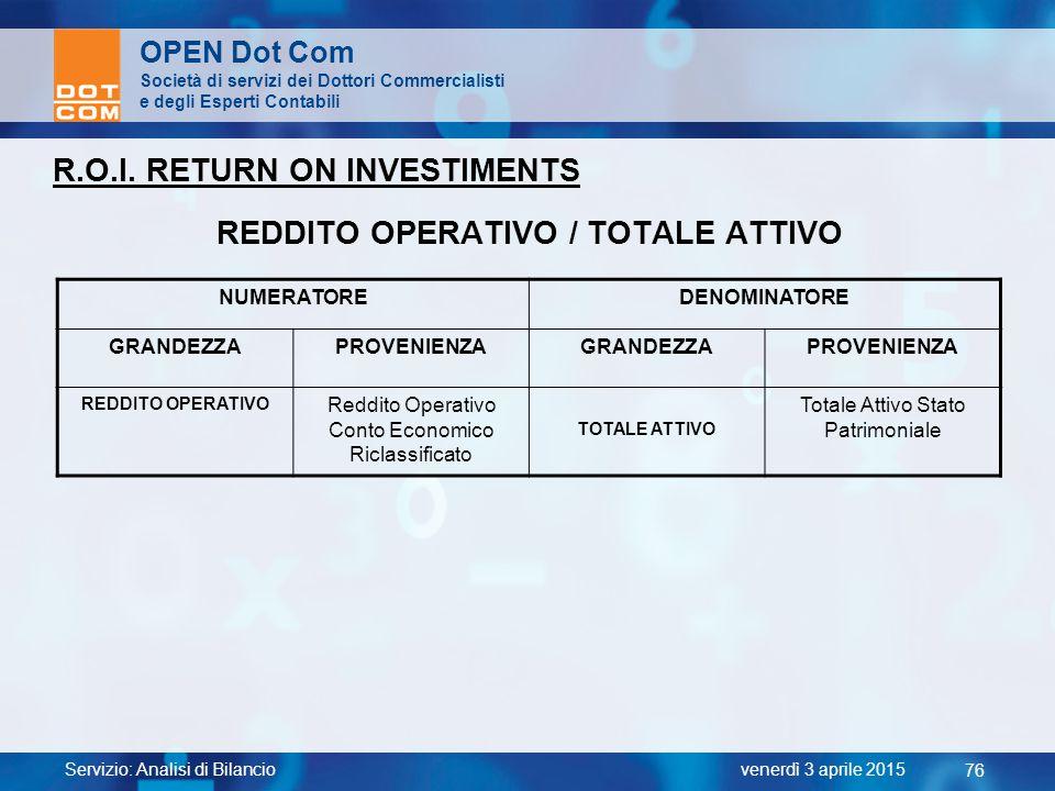 Servizio: Analisi di Bilancio 76 venerdì 3 aprile 2015 OPEN Dot Com Società di servizi dei Dottori Commercialisti e degli Esperti Contabili R.O.I. RET