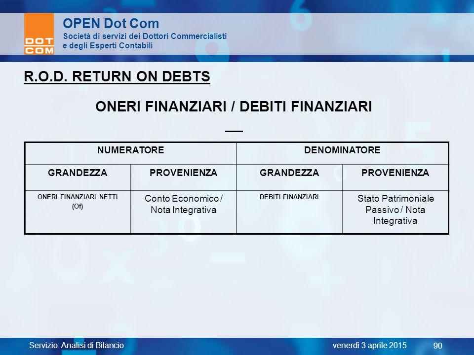 Servizio: Analisi di Bilancio 90 venerdì 3 aprile 2015 OPEN Dot Com Società di servizi dei Dottori Commercialisti e degli Esperti Contabili R.O.D. RET