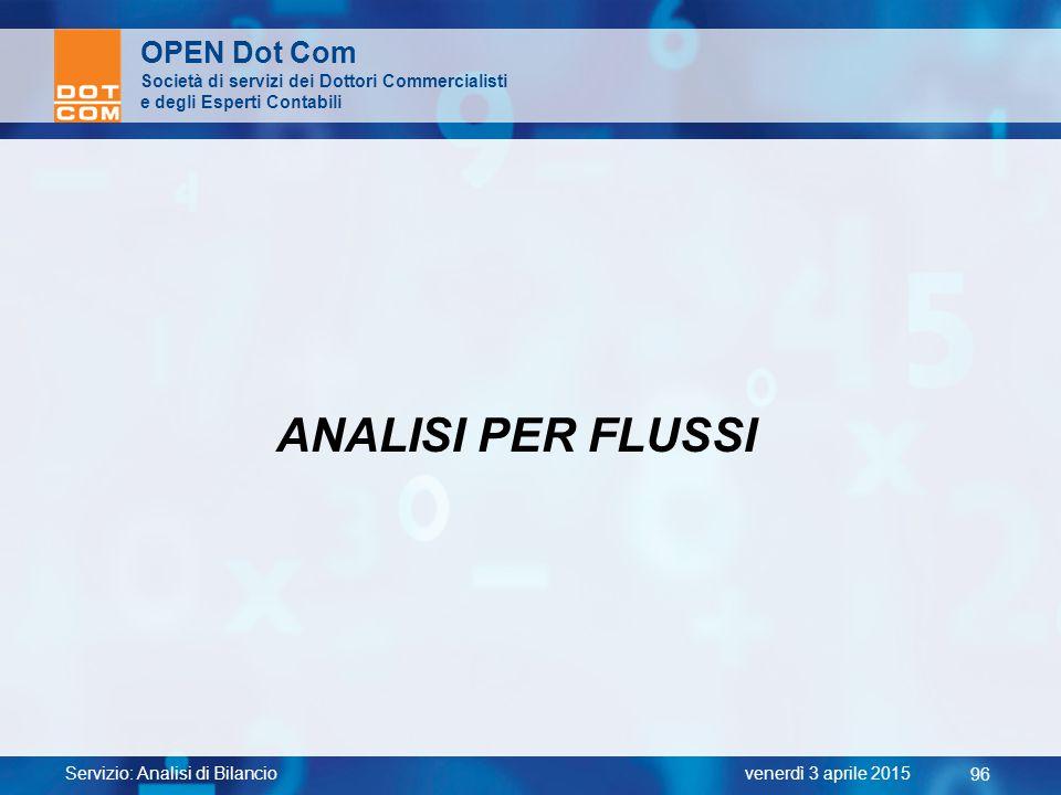 Servizio: Analisi di Bilancio 96 venerdì 3 aprile 2015 OPEN Dot Com Società di servizi dei Dottori Commercialisti e degli Esperti Contabili ANALISI PE