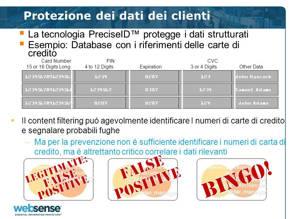 Protezione dei dati dei clienti  La tecnologia PreciseID™ protegge i dati strutturati  Esempio: Database con i riferimenti delle carte di credito Jo