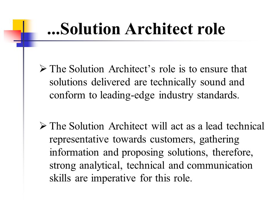 Solution Architect: habitat...